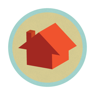 Little house graphic.