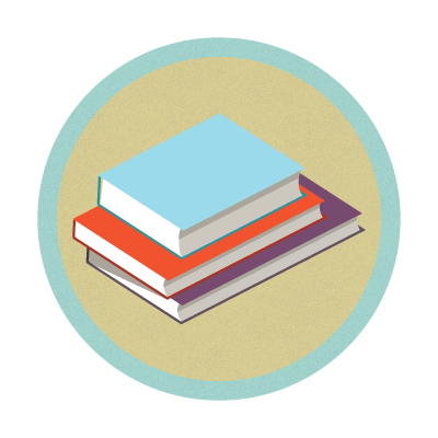Stack of books graphic.