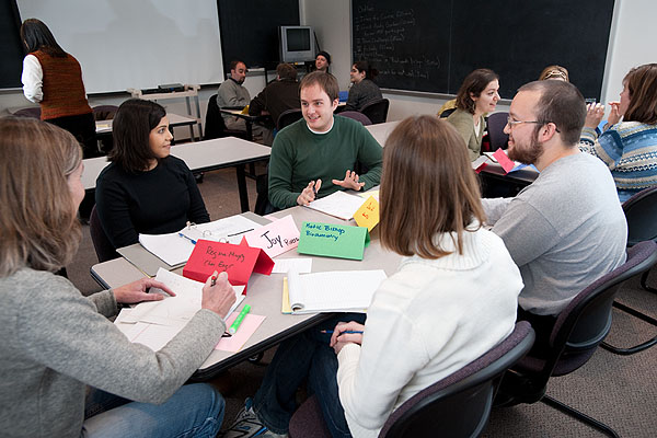 Students in a small group discussion